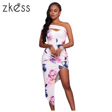 Buy Zkess 2017 women Blooming Floral Print Boho Dress Elegant Bodycon sexy side split Party Dresses High-low Midi Vestidos LC61515 for $15.74 in AliExpress store