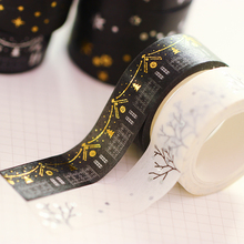 Diy Minimalist Black White Textured Paper Tape Pda Silver Small Fresh Floral Tape 5m Decorative Adhesive Tape Sticker Tape