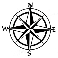15cm*15cm Car Styling Compass Travel Wanderlust Direction NSWE Car Stickers C5-1956