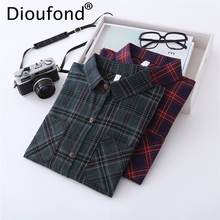 Dioufond Red Plaid Casual Shirt Female Warm Long Sleeve Shirts Women Vintage Autumn Checked Turn-down Collar Ladies Shirts 2017(China)