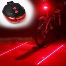 Bicycle Laser Rear  flashlight  Cycling  Safety Warning  light Flashing Lamp Bike Tail  Lights 2 Laser 5 LED