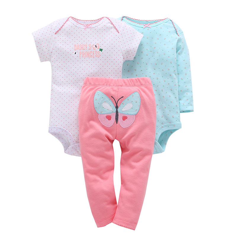 baby girl dot print romper+pants butterfly pattern 3 piece clothing set cotton 2018 spring clothes for 0-24 new bron baby
