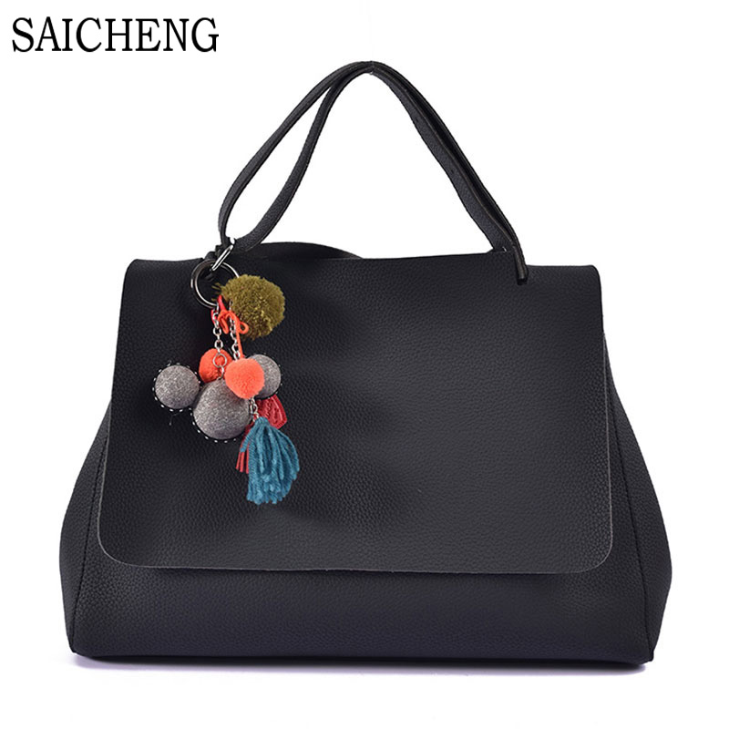 SAICHENG Brand 15 Inch Big Tassel Women Bag Pendant Large Capacity Woman Shoulder Handbag PU Soft Leather Womens Handbags SAC<br><br>Aliexpress