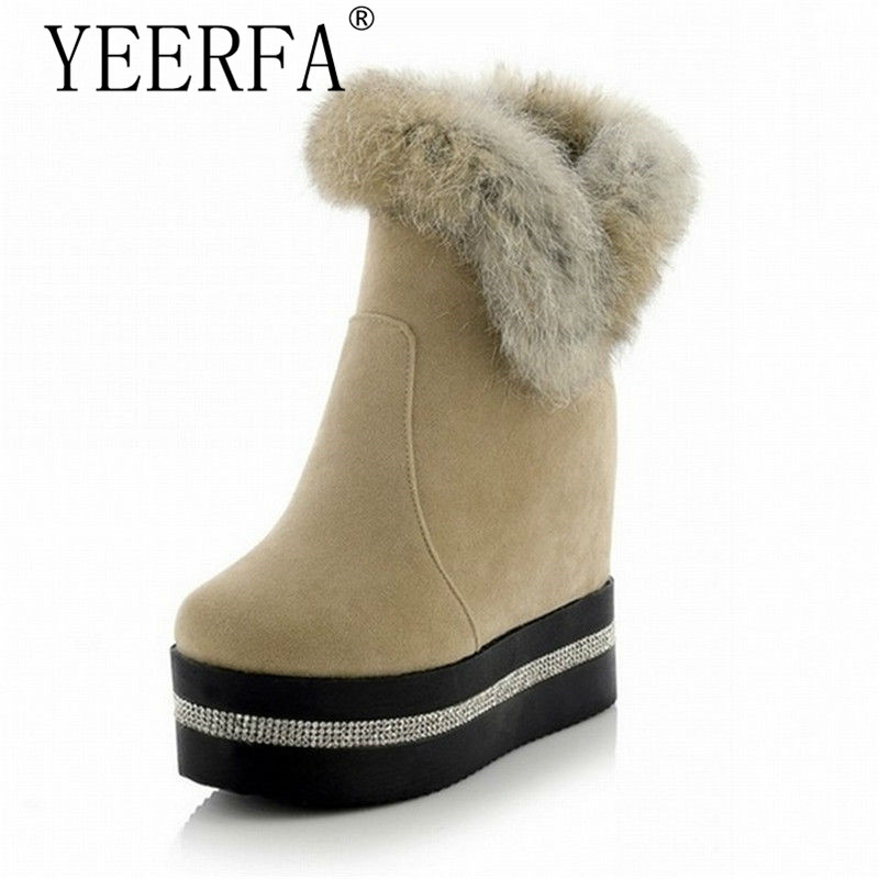 YIERFA Fashion Rabbit Fur Ankle Boots 2017 Hidden Wedges Snow Boots High Heels Platform Boots Autumn Winter Boots Shoes Woman<br>