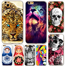 Napeyin Cases for iphone 5 5s SE 6 6s Plus 6Plus Soft TPU Lion skull leopard russia dolls Tiger Cat Pained Case Cover(China)