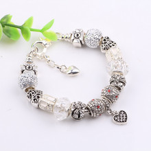 Couqcy 2017 Vintage 5 Silver Color Charm Glass Bracelets For Women Crystal Heart Beads Bracelets & Bangles Pulseras DIY Jewelry(China)