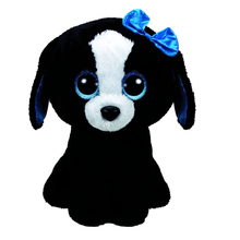 "Pyoopeo Ty Beanie Boos 6"" 15cm Tracey the Black/White Dog Plush Regular Stuffed Animal Collectible Puppy Doll Toy"