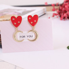 Free shipping ladies jewelry 2017 new personality girl heart-shaped accessories earrings exclusive custom wholesale popular