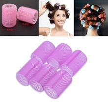 Vente chaude 6 Pcs/ensemble Grand Bigoudis Auto Grip S'accrocher N'importe Quelle Taille DIY Cheveux Bigoudis @ ME88(China)