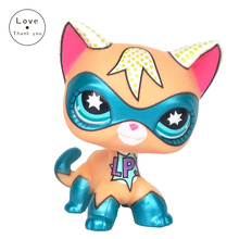 LPS standing short hair cat super hero masked kitty animal Rare old pet shop toys original kitten