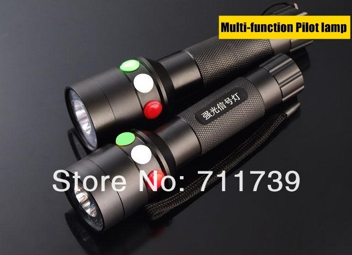 CREE Q5 LED signal light Green White Red Flashlight LED Torch Bright light signal lamp + 1x18650 Battery / Charger<br>