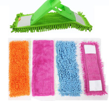 2PCS Floor Folding Flat Mop Head Coral Velvet Chenille Refill Rag Replace Microfibre Fabric Replacement Cloth Easy Wash 40x12CM
