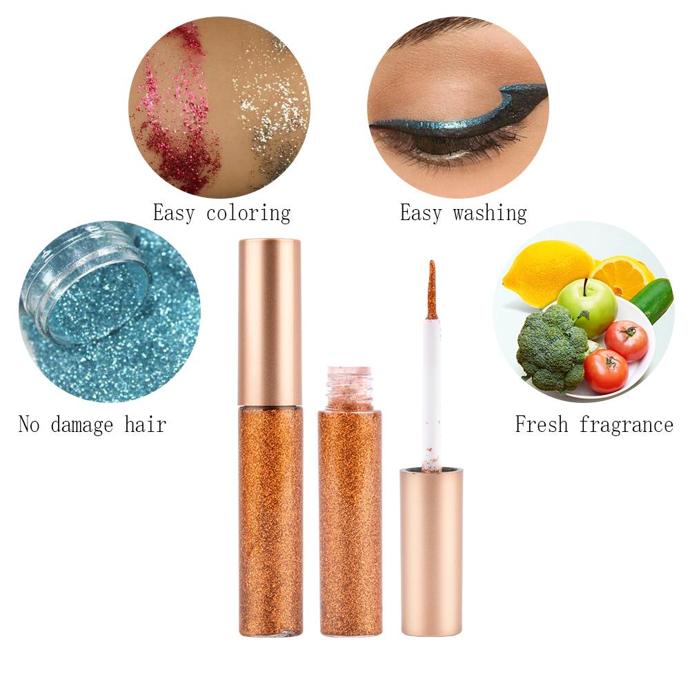 HANDAIYAN 10pcs Eyeliner Glitter Set Eye Waterproof Makeup Liner Shimmer Pigment Silver Gold Metallic Liquid Maquiagem Eyeliner 2
