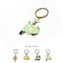 Trendy Jewelry Cute Cartoon Vintage Bus Hot Air Balloon Motorcycle Camera Alloy Keychains For women girls