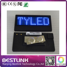 10pcs a lot chepaer price led name tag scrolling led sign mini name badge usb rechageable blue color led exhibition