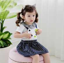 1PC Baby Girl Dress with Shoulder-Straps Cute Cartoon Kitty Pattern Baby Girl Clothes(China)