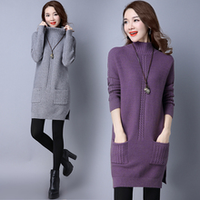Buy 2017 Autumn Winter Warm Knitting Dress Girls Turtleneck Thick Twist Pullovers Sweater Dress Female Long Sleeve Wool Dresses for $22.05 in AliExpress store