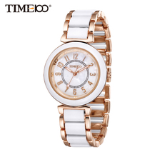 Time100 Women Quartz Casual Bracelet Watches Laides Fashion watch Luxury Alloy Simulated Ceramic Strap Shell Dial W50149L(China)