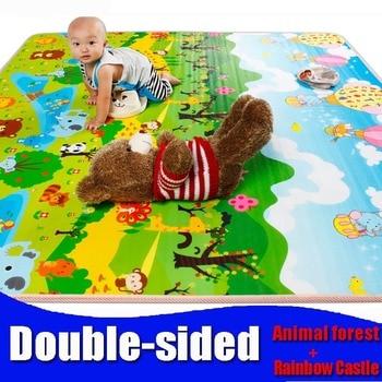 Juguete del bebé de doble cara de espuma Estera del Juego, Alfombra del piso para Los Niños/Seguridad + Gimnasio Alfombra de Picnic bosque Animal Rainbow Castillo, thickness0.5cm