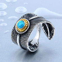 BEIER Cool Vintage Feather Leave Ring For Man With Green Stone Stainless Steel Unique Open Ring Jewelry Gothic Style BR8-352
