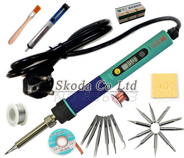 Free shipping EU plug 936 soldering iron Adjustable Digital Display welding kit solder tip+wick+Tweezers+Desoldering pump<br>
