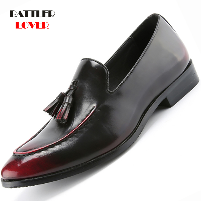 Men Genuine Cow Leather Dress Shoe Design Brand Shoes Male Classic Tassel Brogue Shoe Mans Footwear Formal Wedding Bullock Shoes