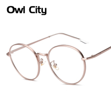 Women Eyeglasses Brand Designer Oval Rose Alloy Frame Print Women Optical Clear Len Glasses Unisex Eyeglasses Frames For Man(China)