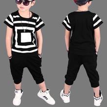 2017 New Summer baby Childrens clothing sets Hip Hop Dance kids Sports Suit boys clothes set Fashion costume T-shirts+shorts(China)