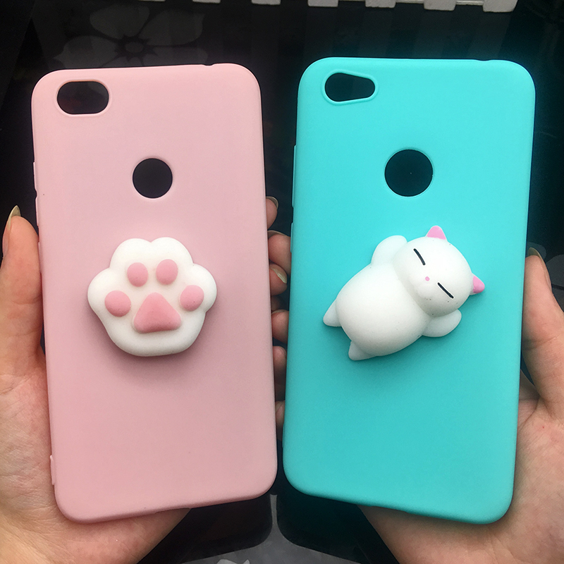 3d Squishy Cat Silicon TPU Soft Case For Xiaomi Redmi 5 plus 4X 4A 3S note 5 pro Candy Color Back Cover Redmi 5A prime 3 4 Cases (1)
