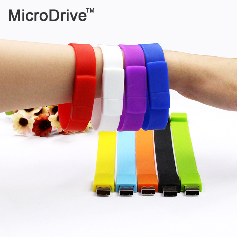 Silicone Bracelet Wrist Band 4GB 8GB 16GB 32GB 64GB USB 2.0 USB Flash Drive Pen Drive Stick U Disk Pendrives gift(China)
