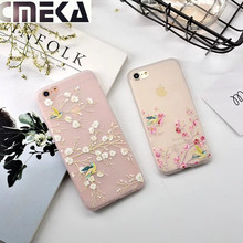 Cmeka Newest Fashion Luck Magpie Flower Frosted Clear TPU Soft Case For iPhone 6 Transparent Silicone Cover For iPhone 6S 7 Plus