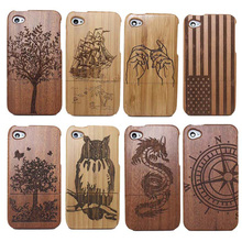 YRFF Traditional Bamboo Sculpture Wood phone Case Covers For iphone 4 4G 4S tree/ship/owl/National flag phone Cases Cover