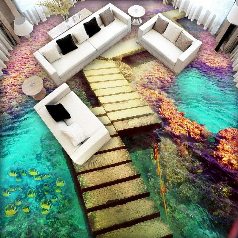Free Shipping Maldives Seaside wooden bridge flooring wallpaper children room decoration office waterproof floor mural<br>