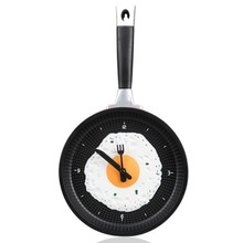 Creative Fantasy Fried Egg Pan Shaped Clock Wall Clock  for home use, kitchen Decoration Red ABS+ PVC+ Aluminium flake