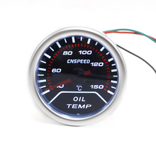 "CNSPEED 2""52mm 12V Car Auto Oil Temp Gauge 40-150C With Sensor Car Oil temperature Meter Smoke Lens White LED Display(China)"