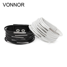 Fashion Leather Bangle Girls Cord Bracelet Retro Multi-layer Winding Bracelets for Woman,Black and White(China)
