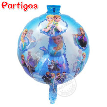 50pcs/lot 20 inch Round Blue Princess Elsa Anna foil balloon birthday party Olaf mylar globos with ball in balloons kids gifts