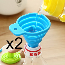 2Pcs/lots Silicone Gel Foldable Collapsible Style Funnel Hopper Kitchen cozinha cooking tools Accessories gadgets outdoor(China)