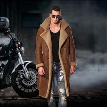 Buy M-4XL Winter fur one leather trench men natural Real sheepskin windbreaker long fur long coats luxury Knee Fur jacket for $764.15 in AliExpress store