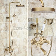 "New Antique Brass Shower Set Mixer Faucet 8"" Rain Shower Head with Handheld shower Bathroom Wall Mounted Bathtub Faucets lrs128(China)"