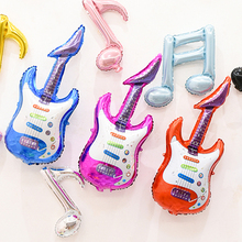 Cartoon Guitar Foil Balloon Red Rose Blue Inflatable Air Globos Birthday Party Cheering Stick Kids Gift Supplies Classic Toys(China)