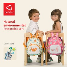2018 Bebear children school bags with Animal Prints Diaper Bag with Fashion style backpack Parent-child package baby Handbag(China)
