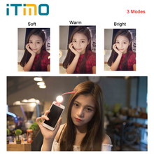 iTimo LED Flash Fill Light for iPhone IOS Android For Cell Phone Camera Selfie Light Silicone Clip 360 Degrees USB Rechargeable