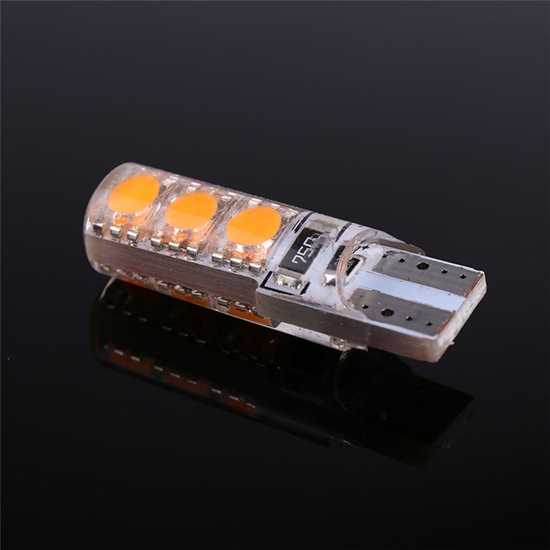 1pcs T10 5050 6SMD LED Car Canbus Error Width License Plate Light Bulb Tail Side Turn Signal Lamp Super Bright Orange Lights