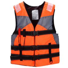 Adult Sailing Swimming Life Jacket Vest Foam Floating Waterproof oxford With a whistle (Orange)