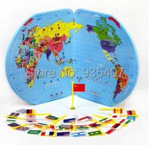 Special Preschool children Tong Yizhi world map flags inserted wooden jigsaw puzzle assembled three-dimensional toys No.<br>