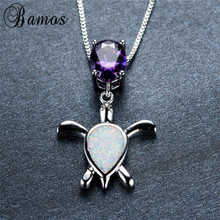Bamos Unique 925 Sterling Silver Animal Choker Fashion Oval Purple Zircon Cute White Fire Opal Turtle Pendant Necklace NL0069(China)