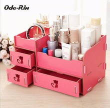 Ode-Rin Wooden Storage Box Jewelry Container Makeup Organizer Case Handmade DIY Assembly Cosmetic Organizer Wood Box For Office