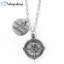 dongsheng No Matter Where Compass Charm BFF Friendship Pendant Necklace Jewelry Accessories Statement Necklace Gift for Fans -30(China)
