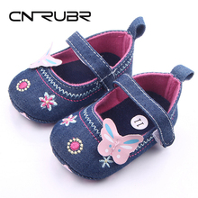 CN-RUBR Embroidered Baby Shoes Denim Shallow Infant First Walkers Hook & Loop Toddler Shoes For Girls Newborn Footwear